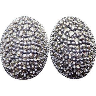Signed Judith Jack Sterling Silver Marcasite Oval Dome Clip On Earrings