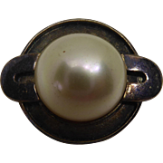 Vintage Sterling Silver Flying Saucer UFO Pin Brooch With Faux Pearl Marked 925