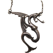 Vintage Sterling Silver Cuelebre Serpent Dragon Pendant Necklace - Winged Serpen