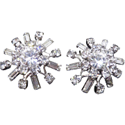 Great Sparkly Vintage Rhodium Plated Rhinestone Clip On Earrings