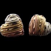 10K Gold Tri Color Petite Heart Earrings