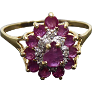 Large Size 11 -  14K Gold Ring With Diamonds & Purple Red Stones