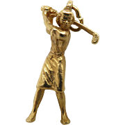 14K Gold Lady Golfer Charm - Solid Gold and in Midswing!