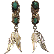 Vintage Signed DT Native American Sterling Feather Dangle Earrings Green Stones