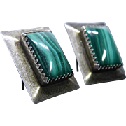Native American Sterling Silver & Malachite Earrings For Pierced Ears