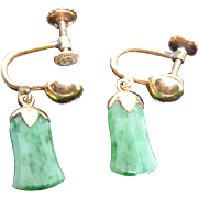 Older Vintage 14K Gold Jade Earrings With Screw Backs - Estate Found