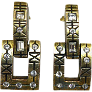Vintage Signed Patricia Locke Earrings - Crystal Studded Dangling Squares