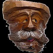 Vintage OOAK Carved Wooden Folk Art Green Man Wall Hanging