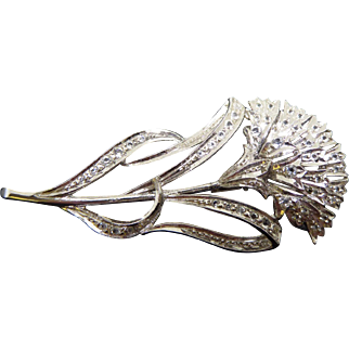 Gorgeous Signed Vintage Flower Brooch - Rodium Plated, Trombone Clasp and Signed With a mark