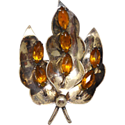 Signed Jolle Vintage Sterling Silver Amber Glass Large Botanical Design Brooch