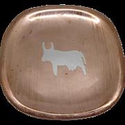 Modernist Metales Castillo Mixed Metal Copper Silver Bull Dish Handwrought 708