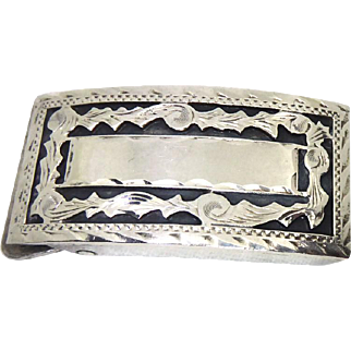 Beautiful Art Deco Era Sterling Silver Buckle - Nice Chased Design