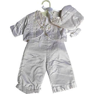 Adorable Vintage Baby Boy 4 Piece Christening Outfit - Hat Jacket Pants and Shirt