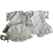 Beautiful Lacy White Baby Jacket and Bonnet - With Basket of Flowers Design on Lace