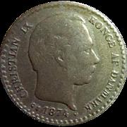 Antique Coin Pin 1874 10 Ore Denmark Coin - Coin Jewelry