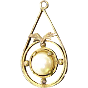 Interesting Antique Jewelry Finding - Pendant or Charm With Faux Pearl