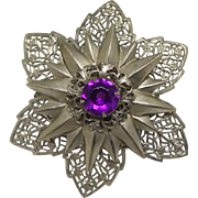 Large & Impressive 6 Pointed Star Filigree Vintage Brooch With Purple Center Crystal
