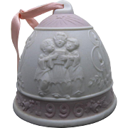Vintage Lladro 1996 Bell Christmas Ornament In Pink and White Porcelain Decorated with Christmas Carolers