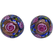 Gorgeous Vintage Wedding Cake Earrings Blue With Pink Roses - Clip On