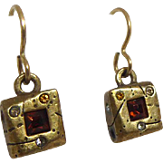 Vintage Signed Patricia Locke Earrings - Chubby Dangling Squares With Crystals