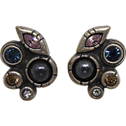 Vintage Signed Patricia Locke Earrings - Crystals & Faux Pearls In Pewter