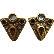 Vintage Signed Patricia Locke Earrings - Crystal Arrowheads