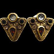 Vintage Signed Patricia Locke Earrings - Crystal Arrowheads