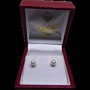 10K Gold Pearl Earrings In Original Red Presentation Box with 14K Backs!