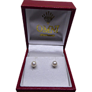 10K Gold Pearl Earrings In Original Red Presentation Box with 14K Backs!