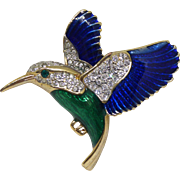 Adorable Hummingbird Brooch - Vintage Goldtone with Rhinestone Crystal & Blue and Green Enamel