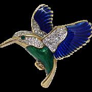 Adorable Hummingbird Brooch - Vintage Goldtone with Rhinestone Crystal & Blue and Green Enamel