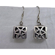 Adorable Vintage Sterling Silver Box or Lantern Signed Earrings