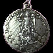 Older Vintage St Raphael St Christopher Sterling Silver Medal Signed HMH