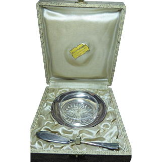 Vintage Ercuis Butter Set In Original Presentation Box of Paris Jeweler