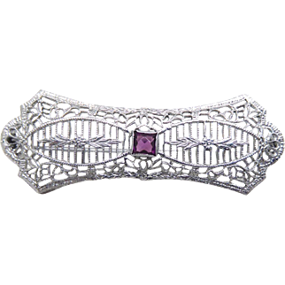 Vintage Filigree Brooch With Purple Center Stone Signed RMCO