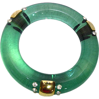 Huge Clear Green Lucite Bangle With Sparkly Clear Rhinestones and Golden Embellishments