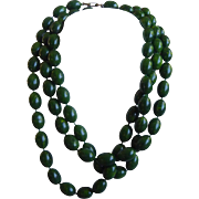 Marbled Early Plastic Necklace -  Green With Yellow Beads - 60 Inches Long!