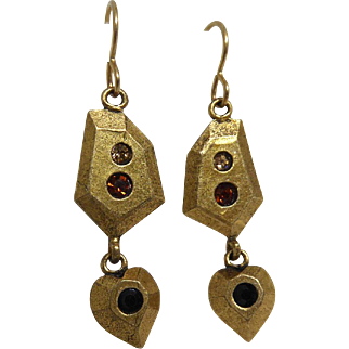 Vintage Signed Patricia Locke Earrings With Dangling Hearts
