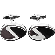 Mirror Finish Sterling Silver Signed Dolan Bullock Curved Oval Cufflinks - Wedding Jewelry!