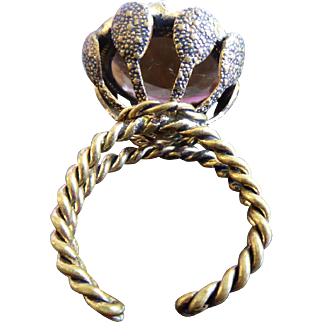 Striking Western Germany Ring With Large Brown Crystal In Twisted Band & High Setting