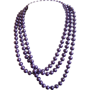 "Vintage 60"" Purple Glass Pearl Rope Necklace"