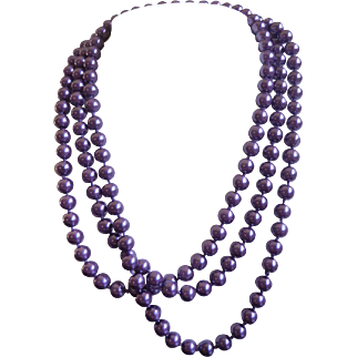 """Vintage 60"""" Purple Glass Pearl Rope Necklace"""