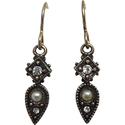 Vintage Signed Patricia Locke Earrings - Dangle Drops With Faux Pearls