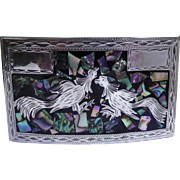 Large Vintage Mexican Sterling Silver Belt Buckle With Rooster Design Signed RMG