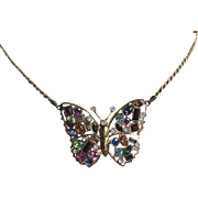 Multicolor Crystal Butterfly Necklace in Gold Over Sterling Silver Setting - Signed Airoldi Italian Designer