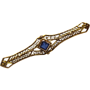 Art Deco Era 10K Gold Filigree Pin - With Blue Crystal or Glass