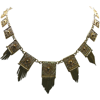 Vintage Etruscan Revival Necklace With Square Links and Dangles - Hallmarked