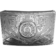 Large Vintage Sterling Silver Belt Buckle Aztec Calendar Ethnic Design Signed JCL