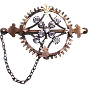 Unusual Victorian Brooch Paste Stones Wheel On Bar Safety Chain - Has Hidden Pin - Nanny Brooch?
