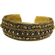 Gorgeous Etruscan Revival Golden Sterling Silver Cuff Bracelet - Israel